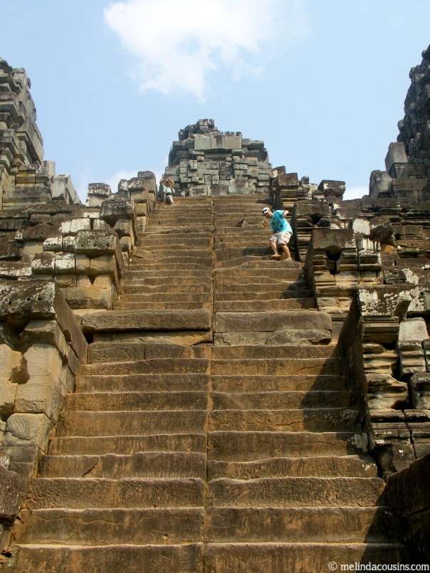 "Climbing the very steep steps, designed to represent the difficulty of ""ascending to the gods"""