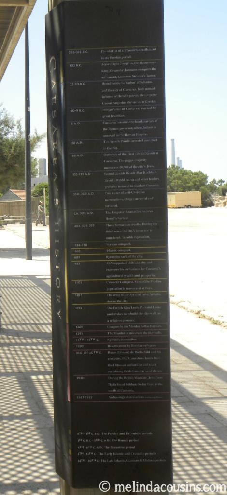 Timeline of Caesarea's history