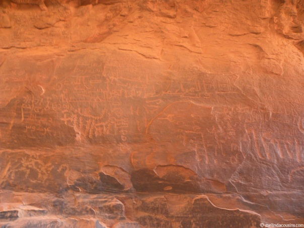 Ancient writing carved into rock caves