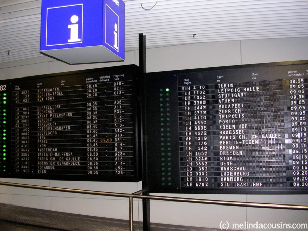 The old-fashioned flight board at Frankfurt airport