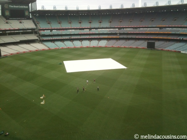 Near empty MCG tour, with some of the Australian cricket team training