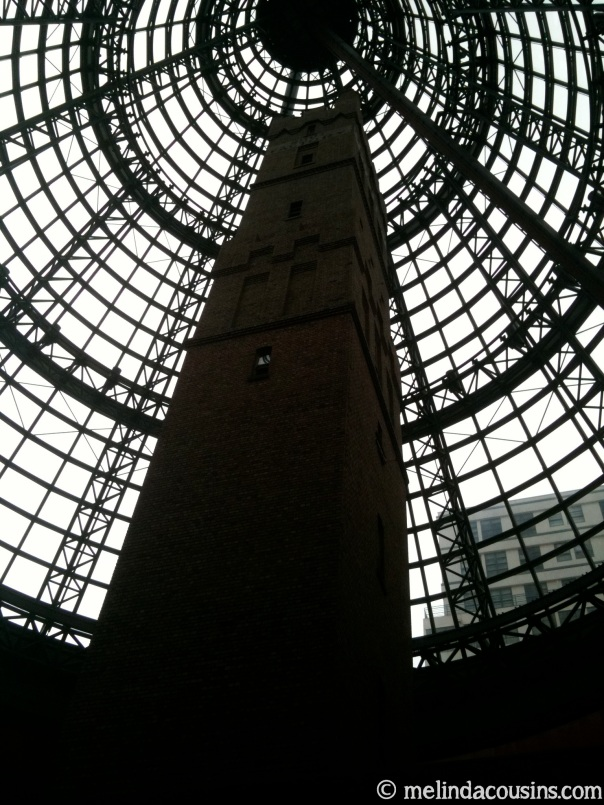 The old shot tower inside a modern shopping mall in the Melbourne CBD
