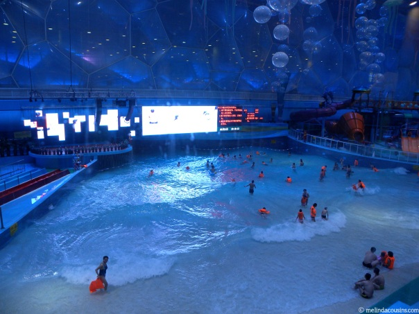 Inside the water cube, an indoor beach