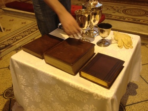 Johnson's Bible, prayer books, and communion chalices