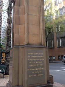 Memorial on the site of the first public Christian service held in Australia